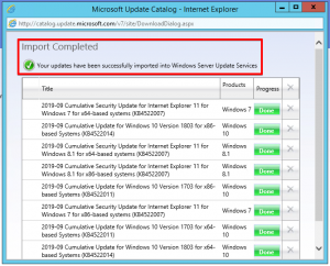 10 - Windows Server Update Services - Windows Catalog - Import Completed