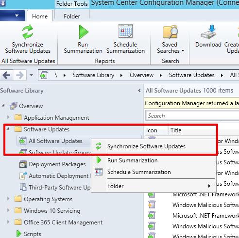 12 - SCCM - Software Updates - Synchronize Software Updates