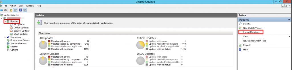 2 - Windows Server Update Services - Updates - Import Updates