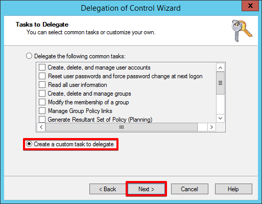 4 - Active Directory - Create a custom task to delegate