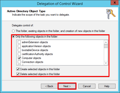 5 - Active Directory - Only the following objects in the folder