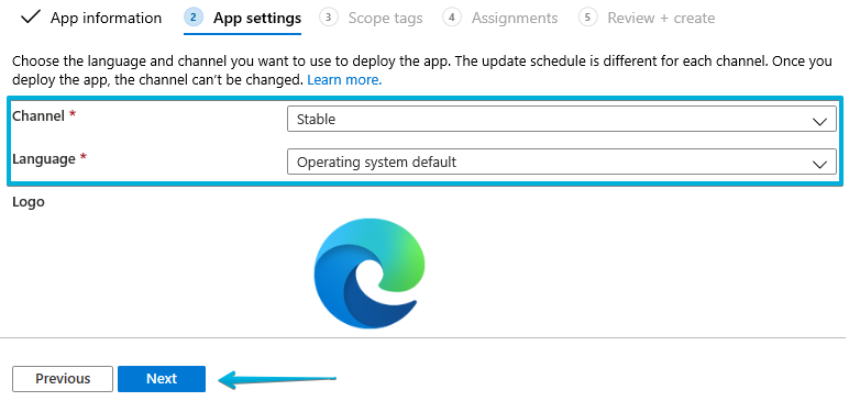 7- Intune - Microsoft Edge - App settings