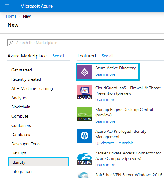 2 - Resources - New - Identity - Azure Active Directory