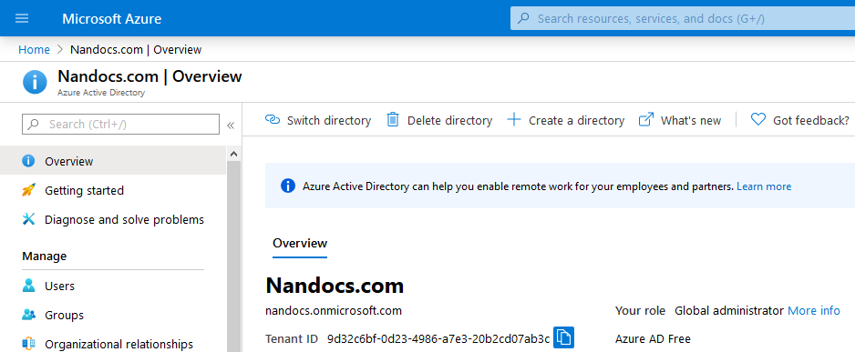 Tenant created in Azure Active Directory - Overview