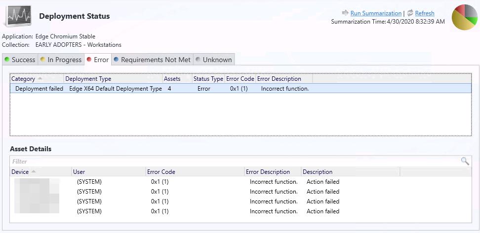 Consola MEMCM (SCCM) - Microsoft Edge Deployment Error 0x1 (1)