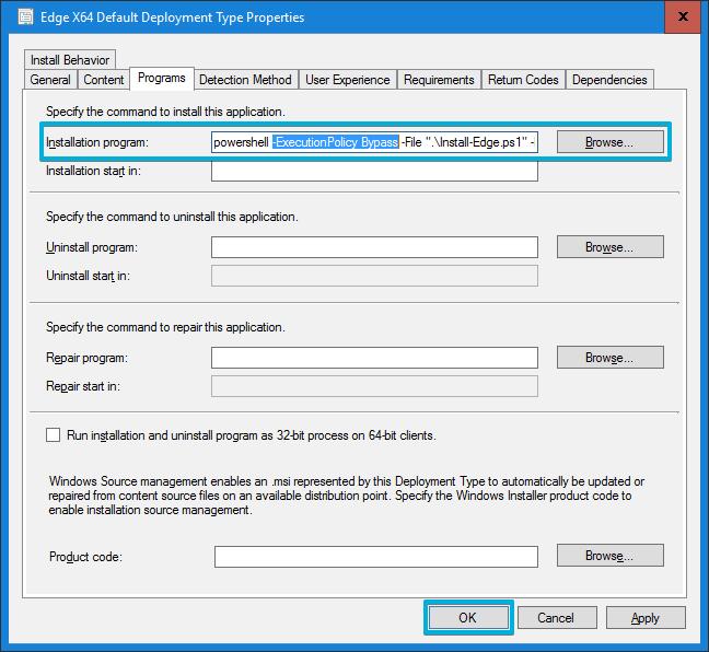 Consola MEMCM (SCCM) - Microsoft Edge Installation Program -ExecutionPolicy Bypass
