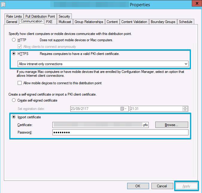 Configuration Manager Certificate - Cannot access the file that you specified