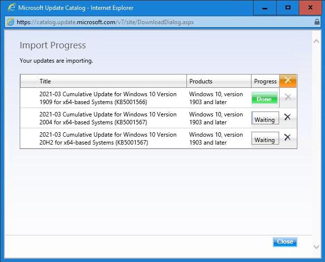 Microsoft Update Catalog - Import Progress - Done