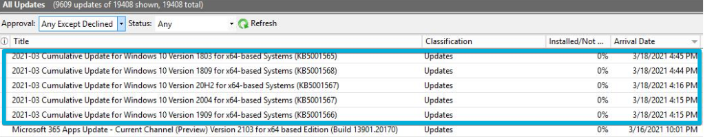 WSUS - All Updates - KB imported